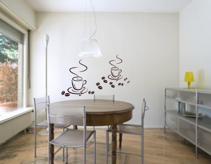 Naklejki Na ścianę Do Kuchni Dwie Filiżanki Kawy M5 Naklejki Do