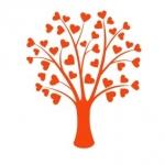 Naklejka welurowa dekoracyjna Drzewo z serduszkami W6