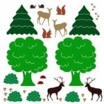 Naklejka ścienna Zwierzątka w lesie K5