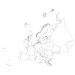 Szablon malarski konturowa Mapa Europy S25