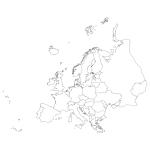 Naklejka na ścianę Mapa Europy w konturach M21