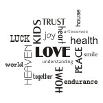 Naklejki welurowe napisy po angielsku Love, Home W16