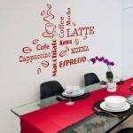 Naklejki Napisy do kuchni na ścianę: latte, cafe, coffee, espresso M4