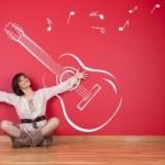 Naklejka welurowa dekoracyjna Gitara z nutami W3