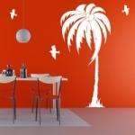 Naklejka dekoracyjna Palma z mewami M35