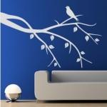 Naklejka welurowa dekoracyjna Gałązka z ptaszkiem W18