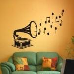 Naklejka welurowa na ścianę Gramofon z nutami W4