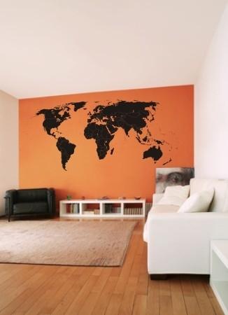 Welurowa naklejka na ścianę mapa świata z podziałem na państwa