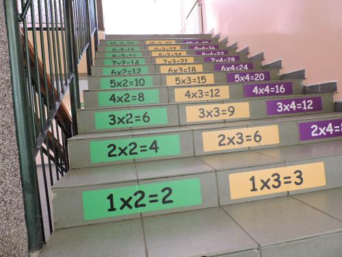 Naklejki na schodach z tabliczką mnożenia
