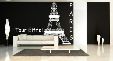 Naklejka z weluru do salonu na farbę lateksową Wieża Eiffla