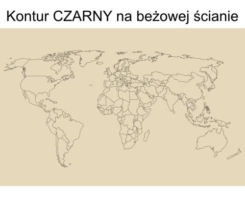 Czarna naklejka ścienna mapa świata w zarysie