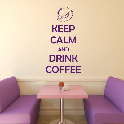 Szablon do malowania na ścianę napisy po angielsku Keep calm and drink coffee