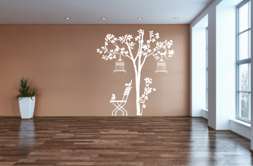 Naklejka dekoracyjna na ścianę drzewo z krzesłem i ptaszkami