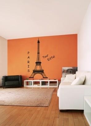 Duża naklejka welurowa na ścianie Wieża Eiffla w pokoju