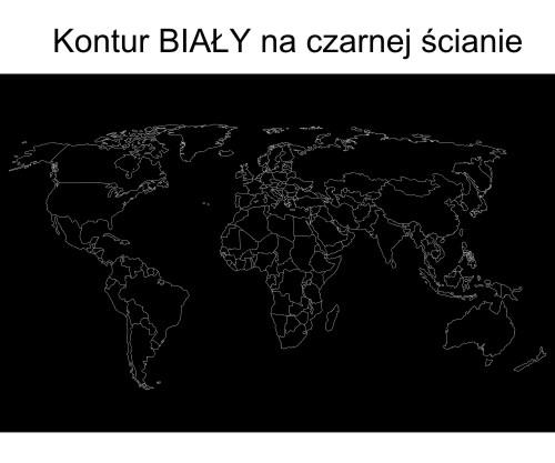 Naklejka welurowa na ścianę mapa świata w konturach kolor biały na czarnej ścianie