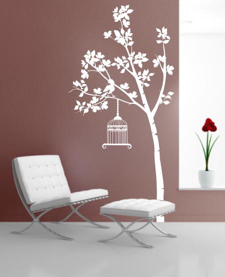 Naklejka na ścianę do pokoju młodzieżowego i salonu drzewo z ptaszkiem i klatka