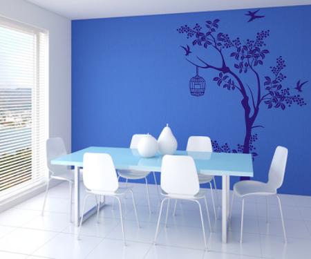 Naklejki ścienne do dekoracji w pokoju, drzewo z ptaszkami i klatka.