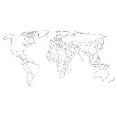 Welurowa naklejka Mapa świata w konturach W26