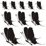 Naklejka welurowa ścienna Zestaw motylków W10