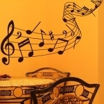Naklejka dekoracyjna Pięciolinia z nutami M19