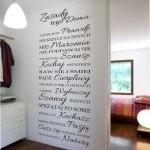 Naklejka welurowa napisy na ścianę Zasady tego domu W14