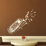 Welurowa naklejka Tuba z nutkami W21