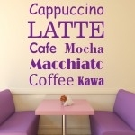 Naklejki welurowe napisy na ścianę Latte, Cafe W27
