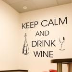Naklejki welurowe napisy po angielsku Keep calm and drink wine W31