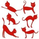 Naklejki welurowe ścienne Zestaw kotków W4
