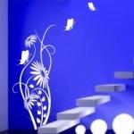 Naklejka welurowa ścienna Kwiat z motylkami W12