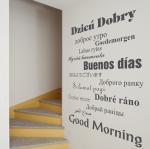 Naklejka z napisem Dzień dobry w różnych językach M46