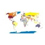 Naklejka kolorowa Mapa świata K1