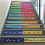 Naklejki na schody język angielski czasowniki nieregularne - odmiana, nr K5 wym. 120x10 cm