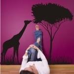 Naklejka welurowa ścienna Drzewo z żyrafą W5
