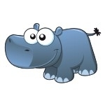 Naklejka na ścianę Hipopotam K3