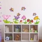 Naklejki na ścianę Motylki na kwiatkach K6