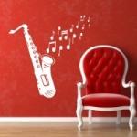 Naklejka ścienna Saksofon z nutami M22