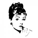 Naklejka welurowa na ścianę Twarz Audrey Hepburn W1