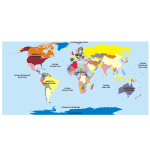 Naklejka geograficzna na ścianę do szkoły, kontynenty i państwa  nr K5