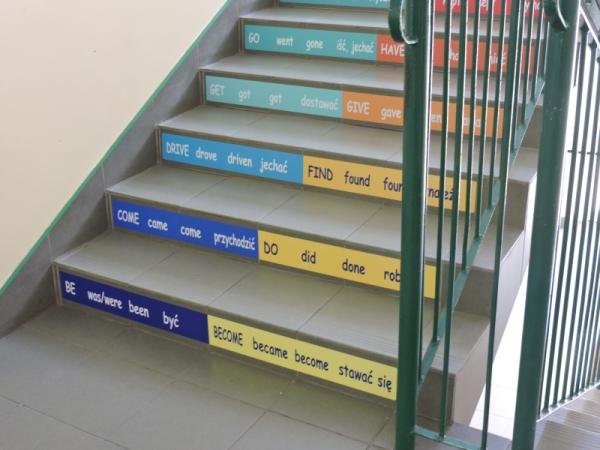 Naklejki na schody w szkole podstawowej, czasy angielski